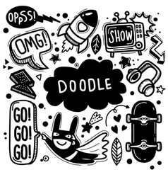 Sticker icons hand drawn doodle hand drawn vector