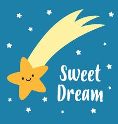 sweet dreams cute sleeping star vector image
