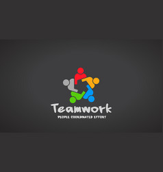 Teamwork people logo design vector