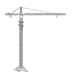 tower construction crane line art on white vector image