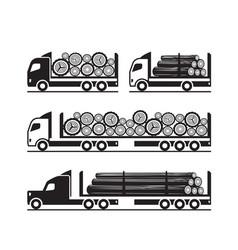 trucks for transport of wooden logs vector image