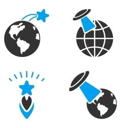 Ufo space flight flat bicolor icons vector