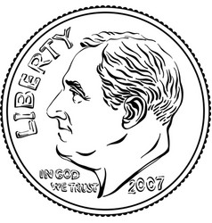 united states dime coin obverse vector image