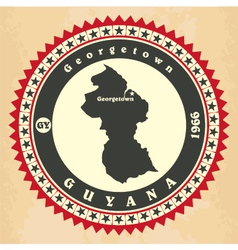 Vintage label-sticker cards of Guyana vector image