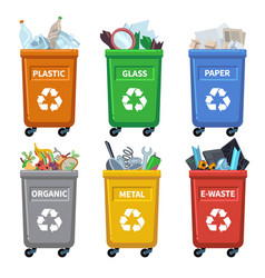 waste bin categories trash recycle separating vector image