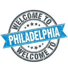 Welcome to Philadelphia blue round vintage stamp vector