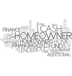 What is a cash out re finance text word cloud vector