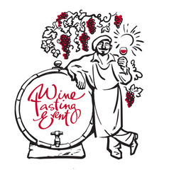 winemaker tasting red wine leaning on barrel in vector image