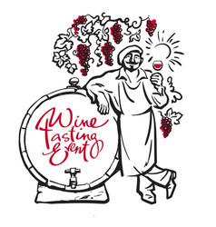 winemaker tasting red wine leaning on barrel vector image