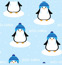 winter pattern with cute penguin vector image