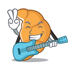 with guitar croissant character cartoon style vector image