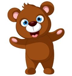 baby brown bear cartoon posing vector image vector image
