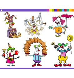 circus clown characters set vector image
