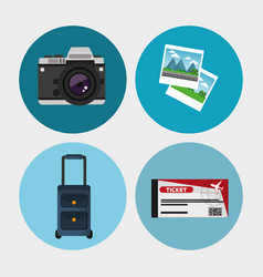 collection travel equipment concept vector image