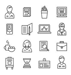 Coworking Line Icon Set vector image