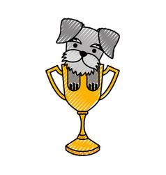 Cute dog mascot with trophy vector