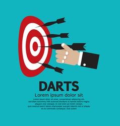 Dartboard with Darts in Hand vector image vector image