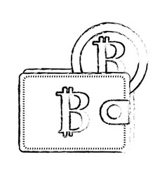 figure bitcoin symbon in the wallet with coin vector image vector image
