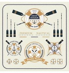 Vintage nautical lifebuoy and paddles label set vector image
