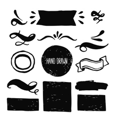 Ink design labels ribbons and decorative elements vector image