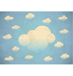 Vintage aged card with white clouds in the sky vector image vector image