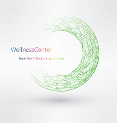 WELLNESS circle stamp cloud fitness sport health vector image
