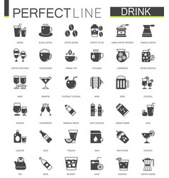 black classic web drinks icons set vector image vector image