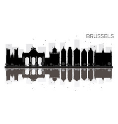 brussels city skyline black and white silhouette vector image vector image