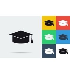 Colored and monochrome student cap icon vector image