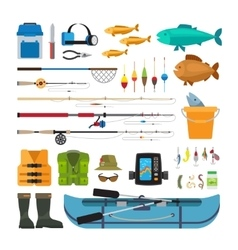 Fishing flat icons vector image vector image