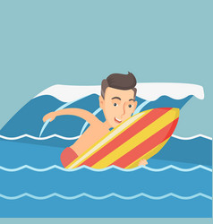happy surfer in action on a surfboard vector image vector image