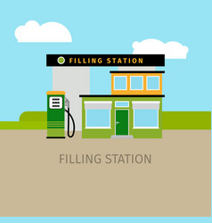 colored filling station building vector image