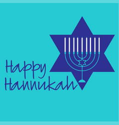Hannukah menorah graphic with blue star vector