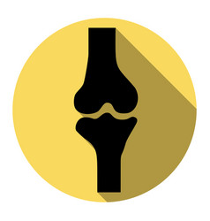 knee joint sign flat black icon with flat vector image