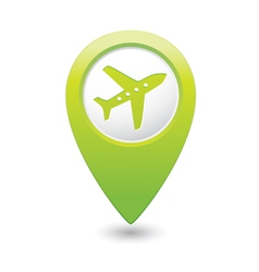 plane icon on map pointer green vector image