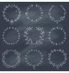 Set of 9 hand drawn wreaths on blackboard vector image vector image
