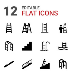 12 ladder icons vector