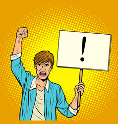 a man protests with a poster vector image