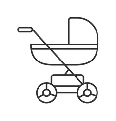 Baby carriage linear icon vector
