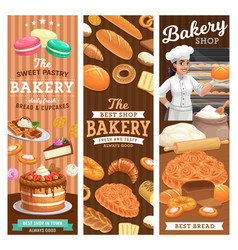 Bakery bread and desserts banners vector