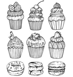 Bakery set black and white vector
