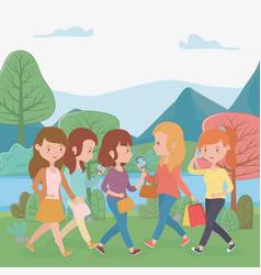 beautiful women walking in park using vector image