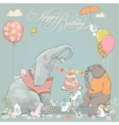 birthday card with cute bear elephant and hares vector image