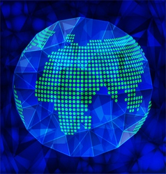 Blue polygonal globe vector