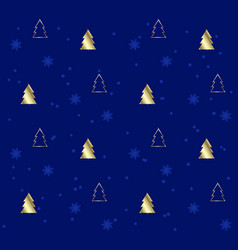 blue seamless pattern with golden christmas trees vector image