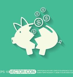 broken piggy Bank icon vector image