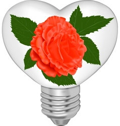 Bulb in the form of heart and in it a red rose vector image