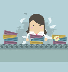 businesswoman working like factory work vector image
