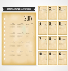 Calendar for 2017 on grey background vector image