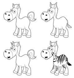 Cartoon horse outline vector image